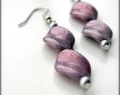 SALE - Whimsical Pearlescent Lavender Dangle Earrings