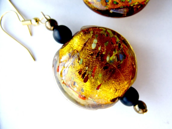 Deep Gold Earrings with Colorful Speckles, Flecks and Swirls