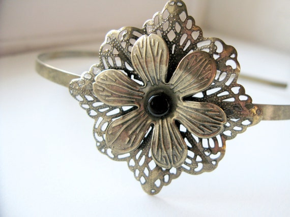 Headband - Antique Bronze Flower, Delicate Floral Womens and Girls