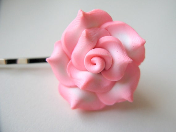 Pink Rose Hairclip / Bobby Pin