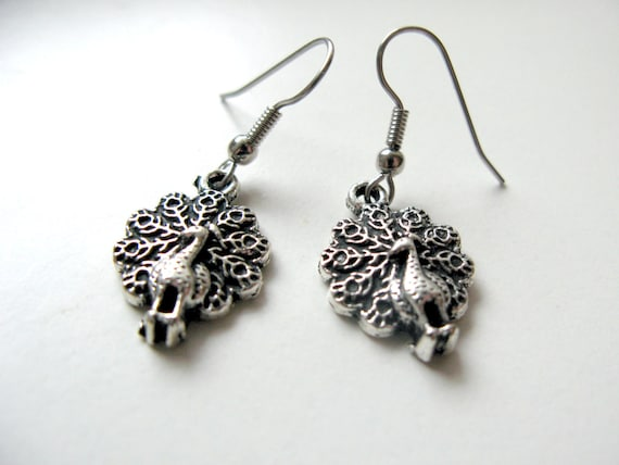 Silver Peacock Dangle Earrings, Silver Animal / Antique Silver Bird for Women and Girls