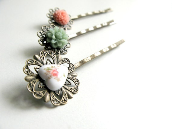 Set of Three Pastel Bobby Pins, Floral and Hearts, Pink & Green Women's and Girls