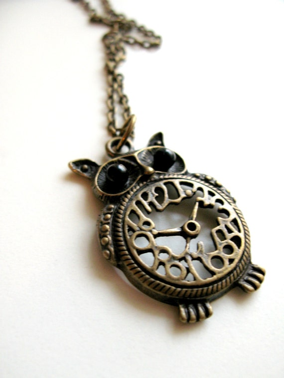 Antique Bronze Owl Pendant Clock Necklace with Bold Black Eyes for Women, Teens, Girls