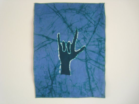 """Batik """"I Love You"""" Wallhanging by students at Koforidua School for the Deaf"""