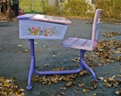 Vintage Childs Desk and Chair Painted Shabby Chic RESERVED