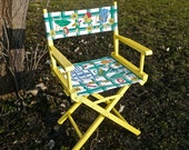 Folding Chair, Collapsible Chair, Garden Yard Decor, Boho Yellow, Directors Chair, Canvas Chair, Eclectic Furniture, Funky Furniture