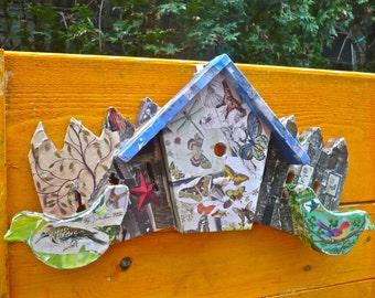 Birdhouse Collage, Wooden Collage, Porch Decor, Garden Decor, Flora Fauna Decor, Bird Assemblage, Butterfly Collage, Rustic Birdhouse, Artsy