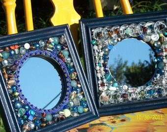 Beaded Mirror, Boho Chic, Decoupage, Assemblage, Mosaic Frame, Collage, 8 x 8 Mirror, Round Mirror, Blue Artsy, Colorful Mirror, Bohemian