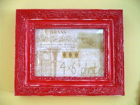 Red Baroque Picture Frame Shabby Chic Cottage Chic