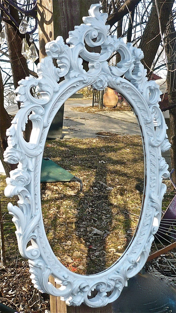 Large baroque oval mirror shabby chic hollywood regency for Baroque oval mirror