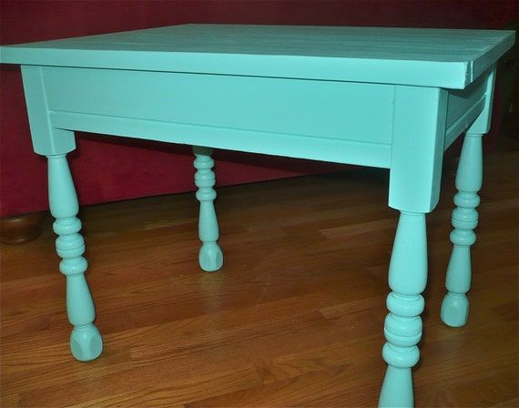 Table, Boho Green Side Table, Vintage End Side, Painted Table, Funky Furniture, Funky Furniture, Bohemian Eclectic Decor, PaintedFurniture