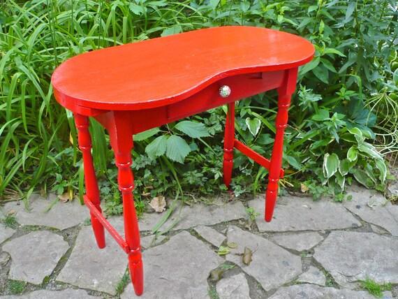 Desk Vanity Table funky Furniture Kidney Desk Vintage Hand Painted Retro Desk Furniture Red