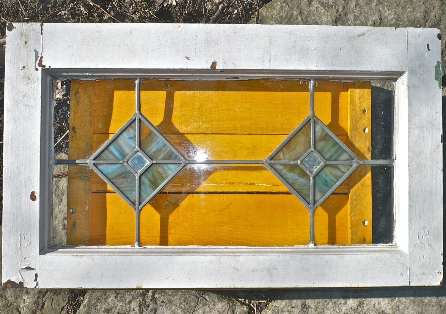Antique Slag Glass Stained Leaded Glass Window By Casakarmadecor