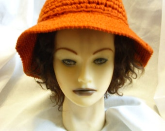 Vintage Dark Orange Kokonit Crochet Hat Clearance Was 10.00