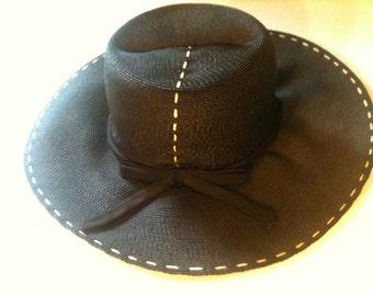 Vintage Black Weave Hat 70s Sale