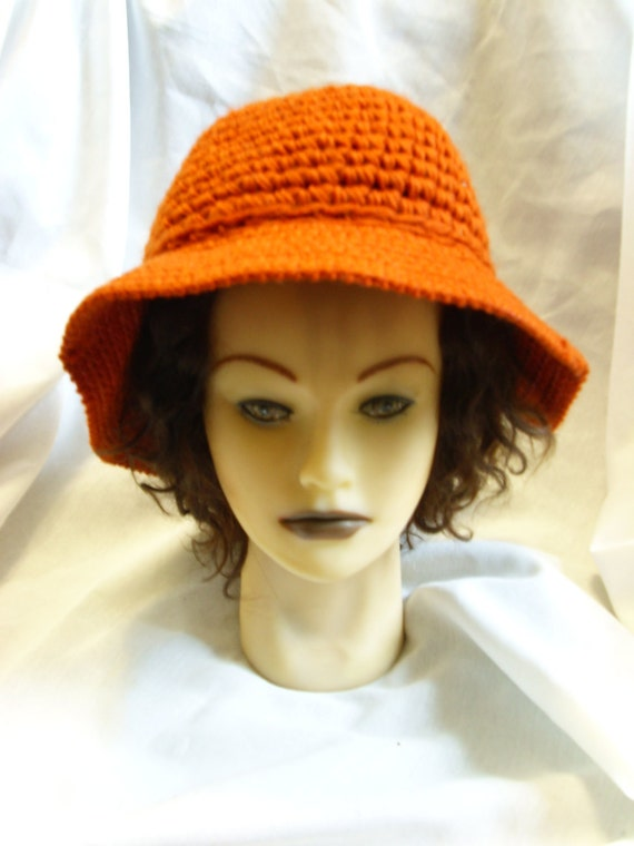 Vintage Dark Orange Kokonit Crochet Hat Sale
