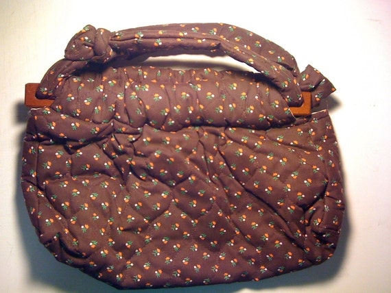 Vintage Handmade Brown Quilted Floral Handbag 1970s CLEARANCE 50% Off Was 15.00