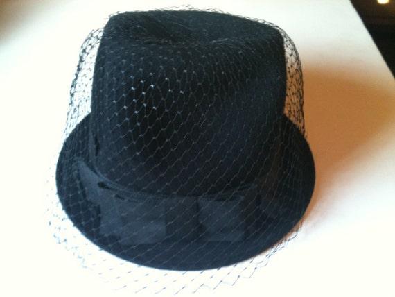 Vintage 50s Black Felt Round Hat by Electa Sale