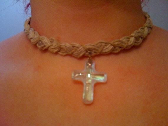Crystal AB Cross on Hemp Necklace