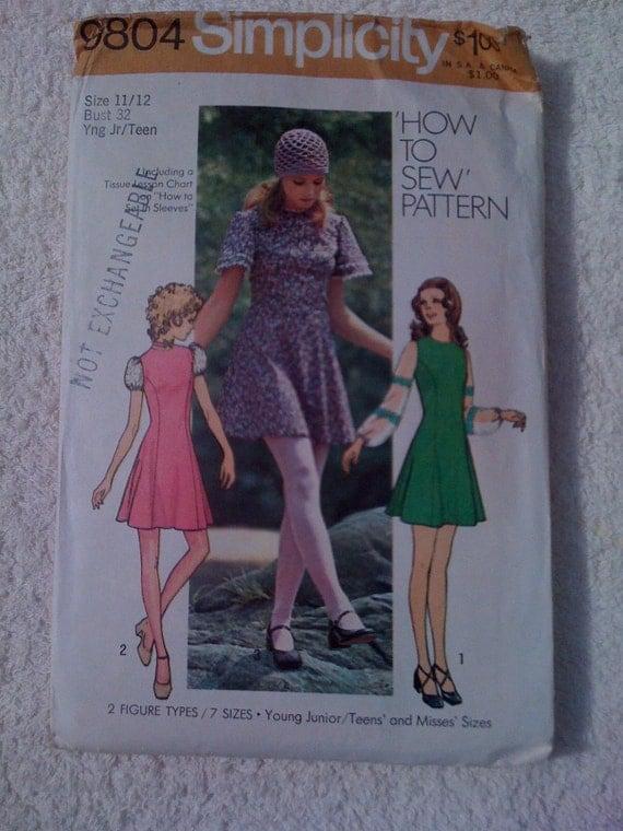 Simplicity 9804 Sewing Pattern Teen Princess Mini Dress 70s Sale