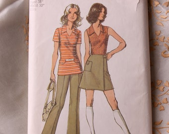 70s Sewing Pattern - 1972 Misses Top, Mini Front Wrap Skirt and Pants, Simplicity Pattern 9969 - Uncut