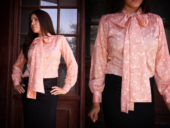 Paisley Secretary Blouse - Vintage Coral Paisley Bow Tie Blouse by Alice Stuart - Professional Business Attire Dress Shirt