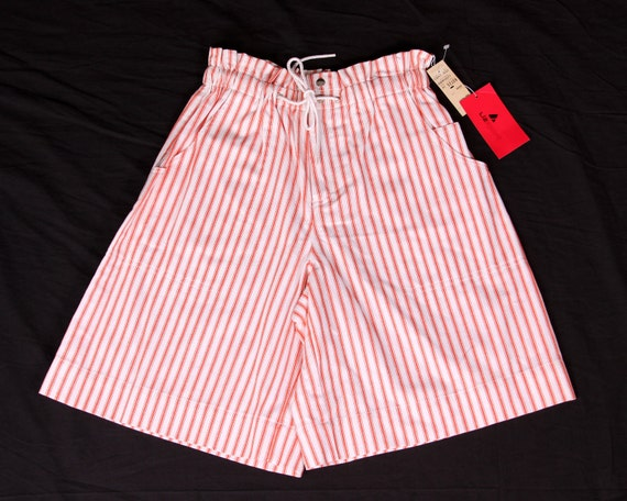 High Waisted Shorts - Retro Liz Claiborne - Orange Striped Ladies Shorts - Dead Stock