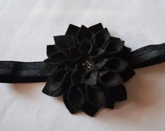 Black felt dahlia inspired headband
