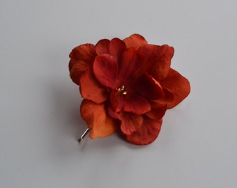 Orange flower bobby pin