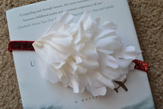 Perfect holiday infant / baby headband, white flower with red sparkle band