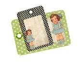 Retro Little Girl Vintage Inspired Digital Printable Download  2x3 Tags