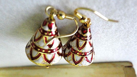 White and Red  Sterling Silver Earrings With Meenakari Work Handmade in India