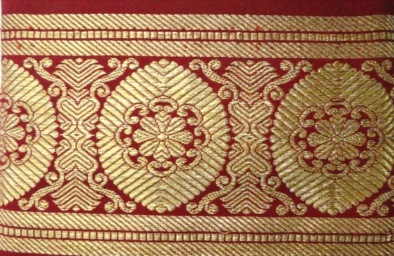 1 yard Gold and Red Vintage Trim From a Pure Silk Sari Fabric South India