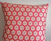 pillow with little flower coral purple ivory  in cotton