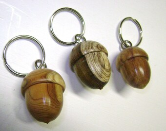 3 acorn keyrings in different woods