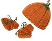 Pumpkin knitted baby hat and booties set