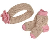 Knitted Baby Headband and Socks Set in beige and pink