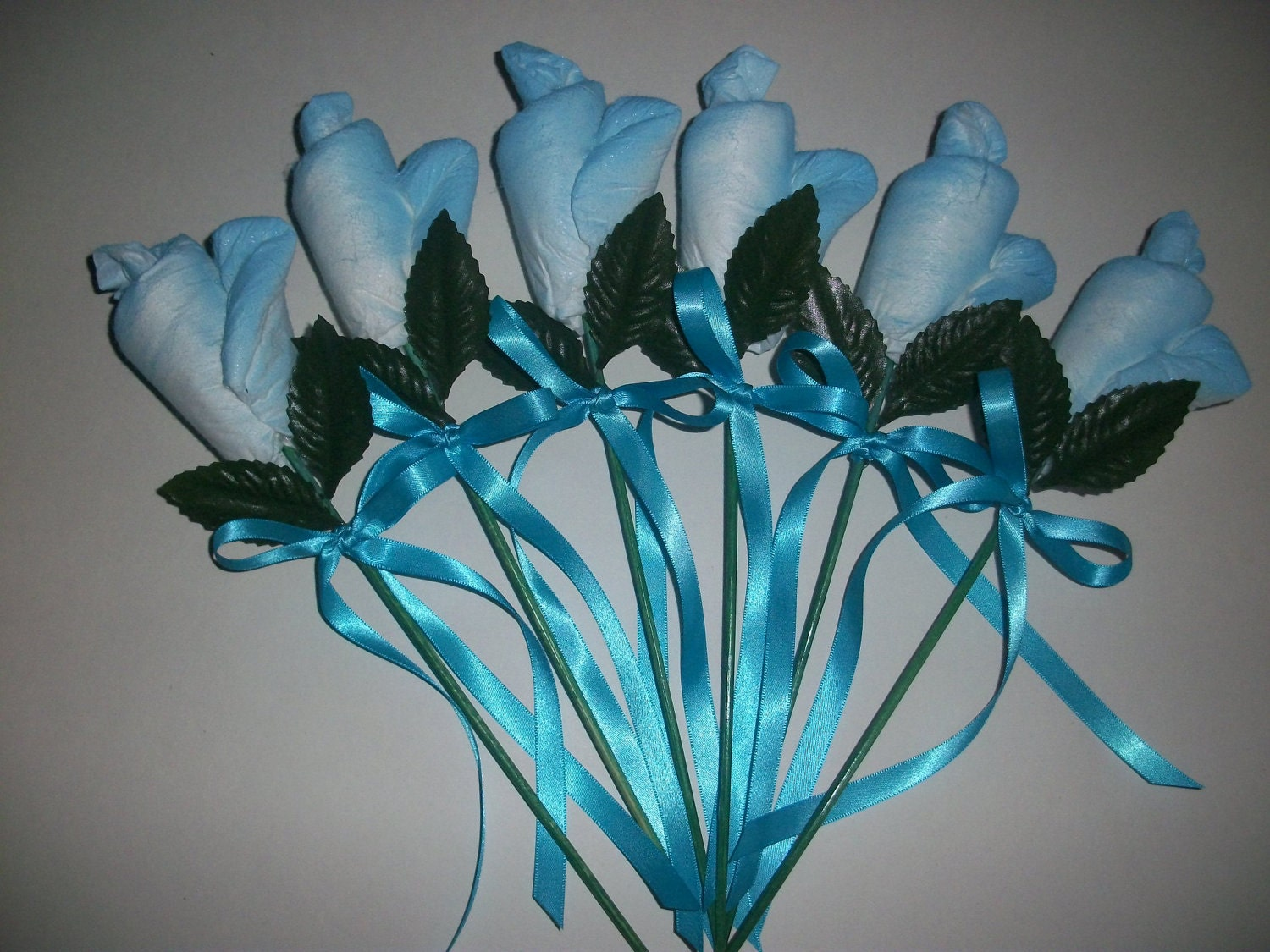 Beautiful turquoise blue diaper roses boy by theperfectbabygift