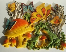 1970s Vintage Wall Plaque, Mushrooms, Butterflies and Frogs