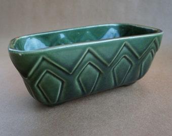 Vintage 1950s Green Brush Pottery Planter
