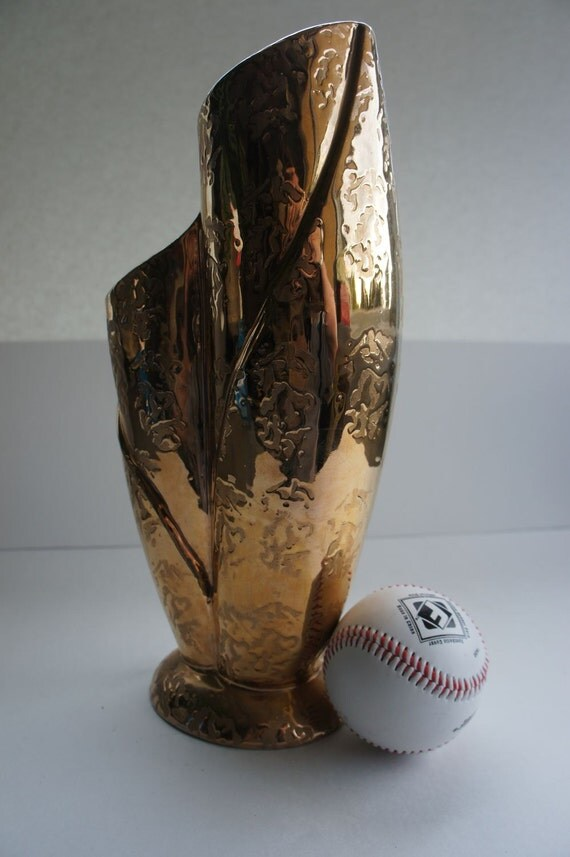Amazing Vintage Weeping Gold Vase, Hollywood Regency