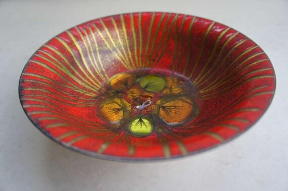 Mid Century Modern Vintage Red Enamel Bowl