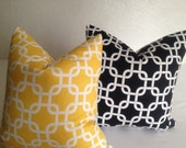 pair of Decorative Throw Pillow cover 16x16 - Designer Fabric   yellow   black link chain printed fabric front and back