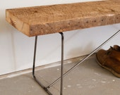 Bench 7' long- Reclaimed Wood and Solid Steel - Salvaged Pine