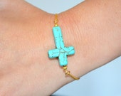 Turquoise cross bracelet on 14kt gold plated chain