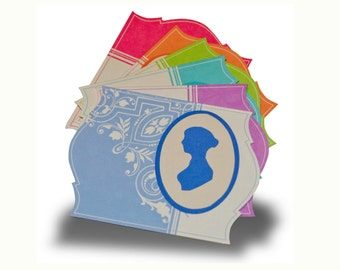 Jane Austen Silhouette Notecards, set of 6: Choose your color