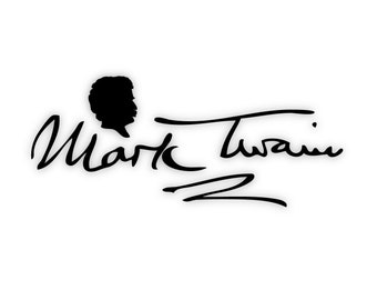 Mark Twain Signature Wall Art: Adhesive Vinyl Letters, Wall Sayings, Decal, Stickers