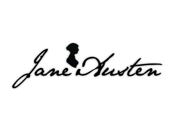 Jane Austen Signature Wall Art: Adhesive Vinyl Letters, Wall Sayings, Decal, Stickers