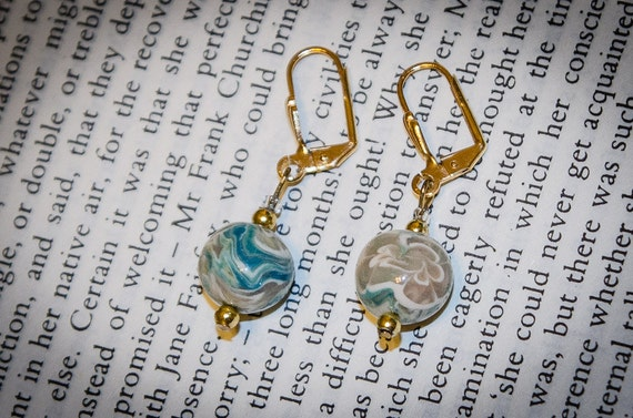 Jane Austen Teal and Gold Vintage Glass Bead Earrings:  Emma
