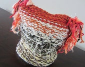 Toddler Knit Ponytail Hat in Green, Cream, Brown, Yellow and Orange